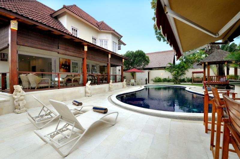 lounging by the pool - PALM VILLA: Huge Villa: 4 double bedrooms with private pool: Cool Bali Villas - Sanur - rentals