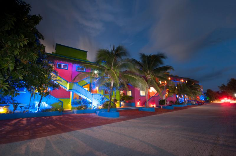 Del Sol Beachfront in the evening - Del Sol 2 Bedroom Oceanfront Condo - Akumal - rentals