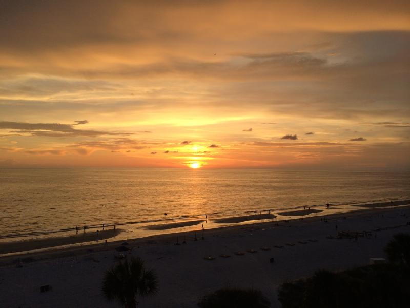 sunset from balcony - Tampa/Clearwater Florida gulf beach condo - Indian Shores - rentals