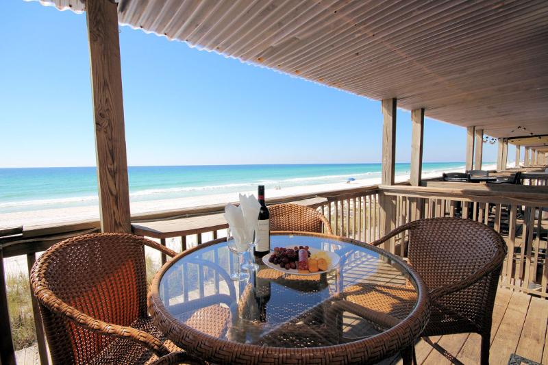 Enjoy wine and cheese on the deck overlooking the Gulf of Mexico. - Can't Get Closer to the Beach Than This! Costa B2 - Miramar Beach - rentals