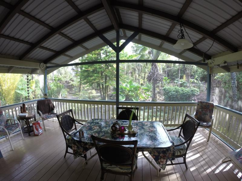 "Our Large Lanai for you to enjoy your meals. - ""Our Hawaiian Hideaway""Secluded-Tropical-Paradise - Volcano - rentals"