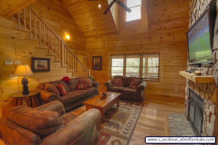 Elk Laurel Luxurious Seating in Living Room with Stone Gas Fireplace and 52 inch Flatscreen - Elk Laurel - Banner Elk - rentals
