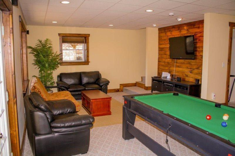 Game and Entertainment Area on Lower Level, Lots of Comfortable Seating Futon folds out to sleep 2 Flat Screen TV with Dish Network and DVD - The High Life - Blowing Rock - rentals