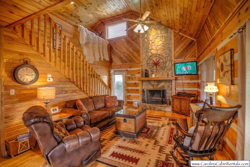 Sweet Retreat Living Room with Soaring Stone Fireplace, Flat Screen TV - Sweet Retreat - Boone - rentals