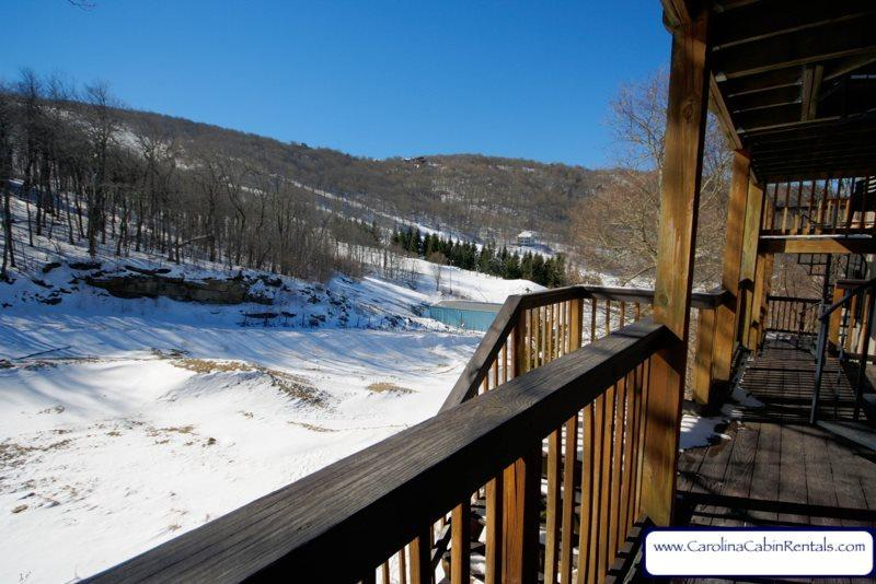 Snow Tree Villa view of ski slopes off lower deck - Snow Tree Villa - Beech Mountain - rentals
