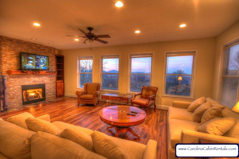 Spacious Living Room with Gas Fireplace, Flatscreen and Great Views - Whispering Hills - Boone - rentals