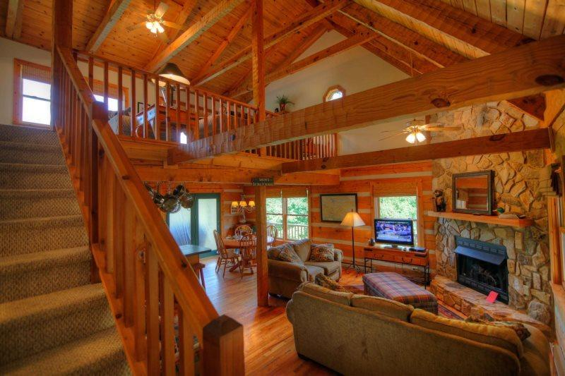 Great Room with Exposed Timbers, Stone Fireplace, Gas Logs, Cable TV - Grandfather Sights - Banner Elk - rentals
