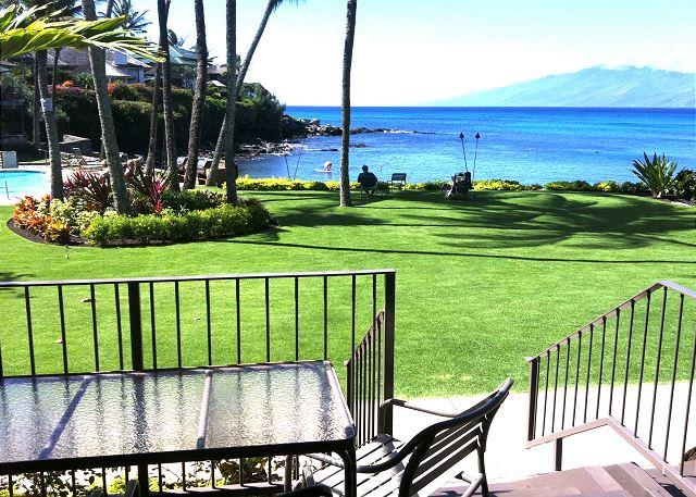 #114 lanai and view - Romantic! Oceanfront Honokeana Cove #114, Fully Equipped, Newly Decorated - Lahaina - rentals