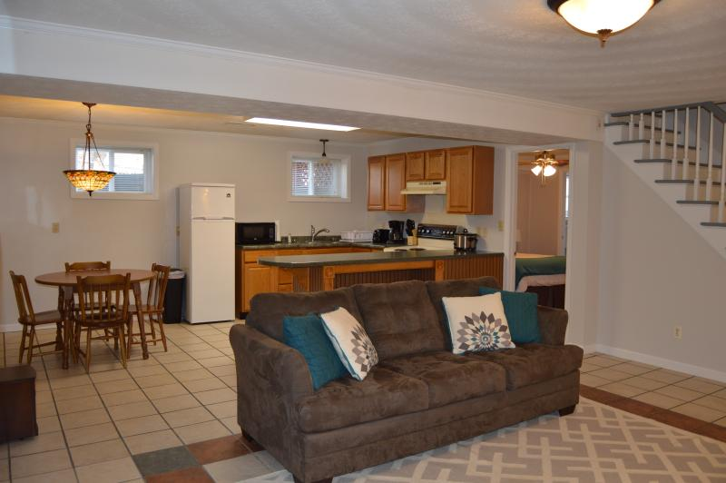 View of living room, kitchen, and dining area - Spacious Basement Apartment for Short Term Rental - Lynchburg - rentals