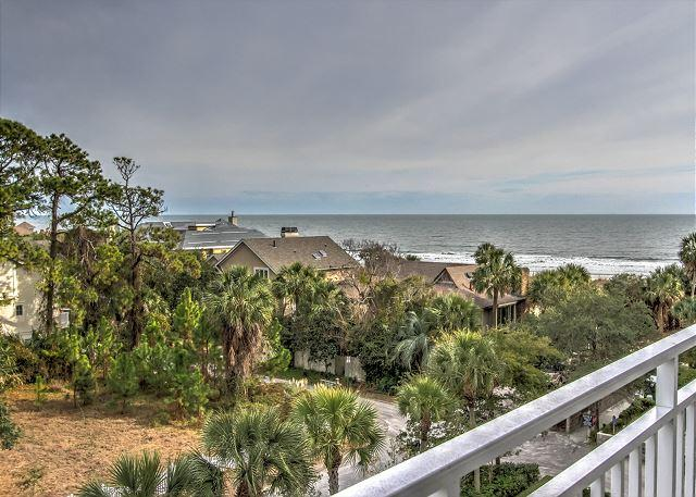 View from Patio - 2407 SeaCrest-Fantastic Ocean Views. Toes in the sand is just steps away. - Hilton Head - rentals