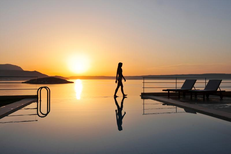 Pool area gorgeous sunsets - SK Place Anemos seafront infinityheated pool Crete - Almyrida - rentals