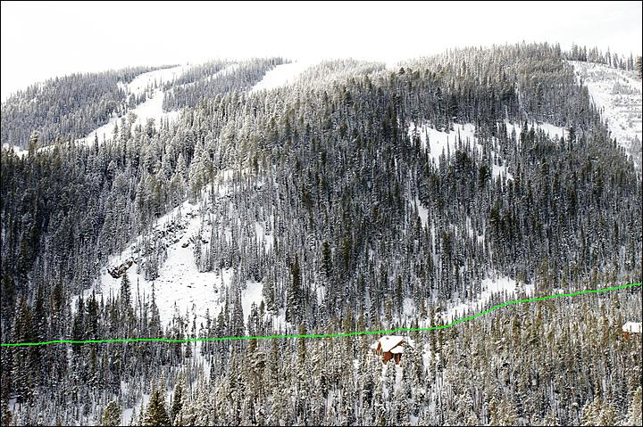 Exterior View of the home and slopes with the ski in ski out trail highlighted. - Amazing Home in the Big Sky Base Area - Private Yet Convenient Location (1058) - Big Sky - rentals