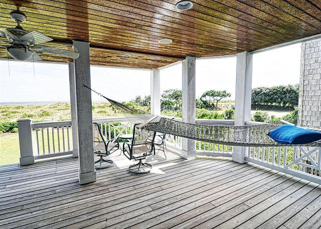 Oceanfront covered deck - 3 Dolphins -  Luxurious oceanfront home with spectacular views and amenities - Wrightsville Beach - rentals
