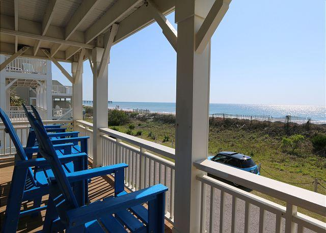 Oceanfront deck - C Street A - Incredible Ocean Front Condo in the heart of Wrightsville Beach - Wrightsville Beach - rentals