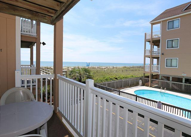 View from deck - Sand Pebbles A9- Unwind and enjoy this oceanfront condo with easy beach access - Carolina Beach - rentals