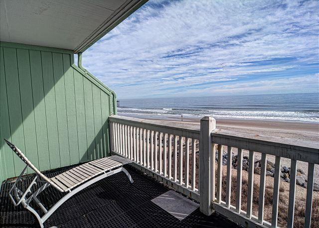 Oceanfront Covered Deck - Sunskipper Unit D10 -  Oceanfront penthouse condo with easy beach access, pool - Carolina Beach - rentals