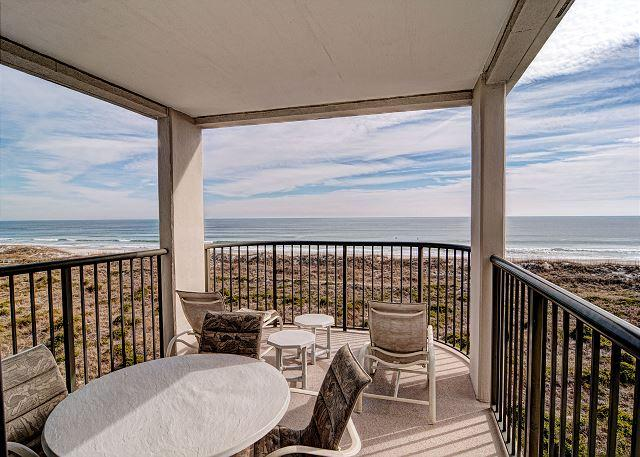 Oceanfront covered balcony - DR 1405 - Beautiful oceanfront condo with tennis, pool and easy beach access - Wrightsville Beach - rentals