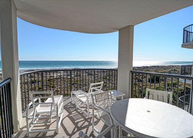 Covered Balcony and View - DR 2304 -  Comfortable and relaxing oceanfront condo with easy beach access - Wrightsville Beach - rentals