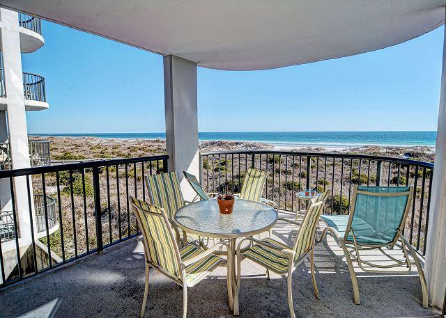 Covered Balcony - DR 2211- Simply elegant oceanfront condo with expansive views, pool and tennis - Wrightsville Beach - rentals