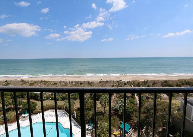 View from the oceanfront balcony - Station One - 6J OV - Oceanfront condo with community pool, tennis, beach - Wrightsville Beach - rentals