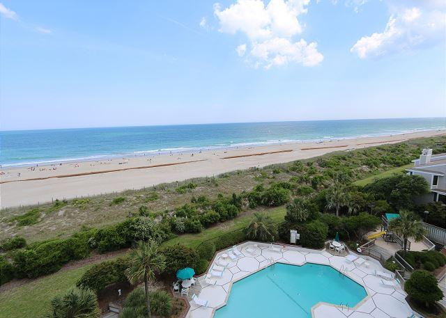 View from covered balcony - Station One-6G Pleasant-Oceanfront condo with community pool, tennis, beach - Wrightsville Beach - rentals