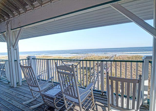 Oceanfront Deck & Views (Upper) - LegaSea- Exceptional oceanfront home perfect for larger family get together - Carolina Beach - rentals
