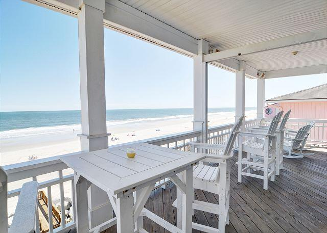 Covered Deck - Dolphin Watch 1 -  Enjoy this spacious oceanfront duplex with panoramic views - Carolina Beach - rentals