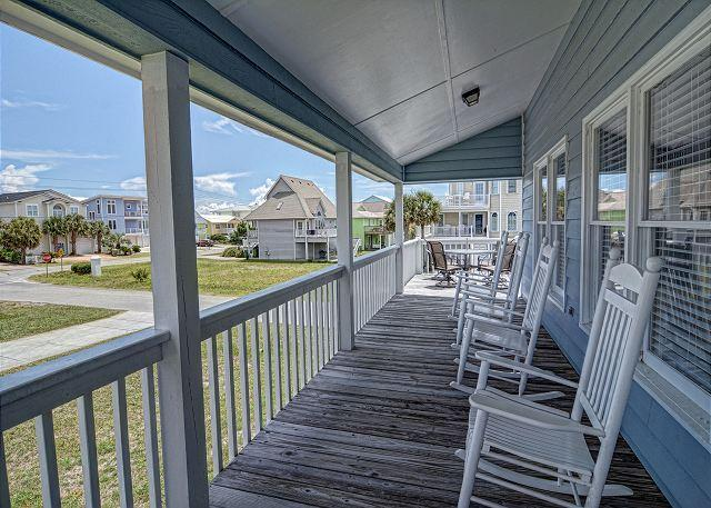 Covered Deck - Kaitlyn's Korner -  Ocean view home close to the beach large wrap around decks - Kure Beach - rentals