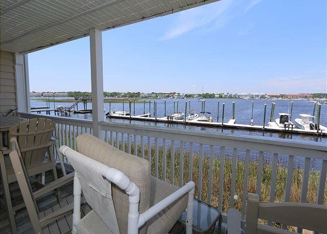 Water view deck - Captain's Quarters #6 - Three bedroom sound front townhome. - Carolina Beach - rentals