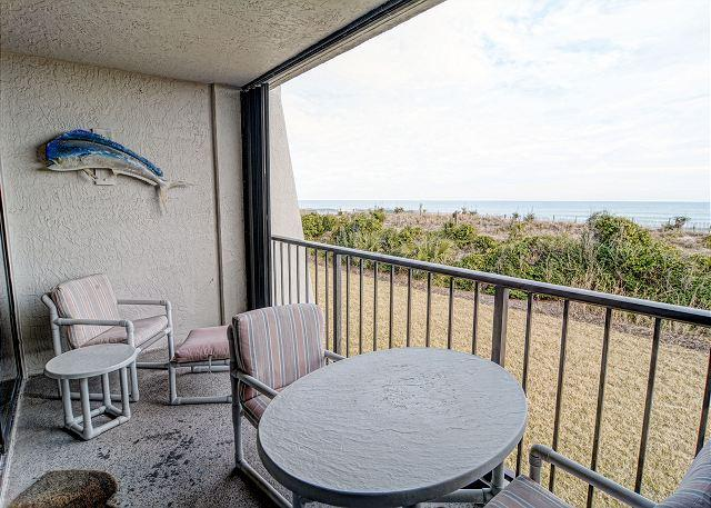 Oceanfront covered balcony and view - Station One - 1D Seascape-Oceanfront condo with community pool, tennis, beach - Wrightsville Beach - rentals