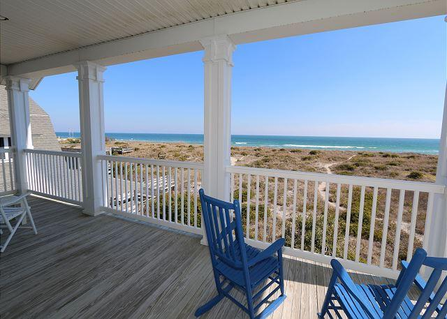 Oceanfront deck - Bellamy House -  Getaway to this Wrightsville Beach oceanfront classic cottage - Wrightsville Beach - rentals