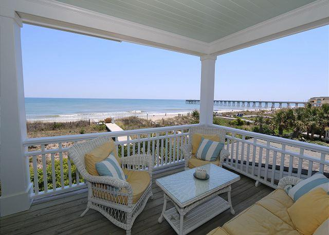 Oceanfront Deck - Sandpiper Cottage - Oceanfront home with gourmet kitchen, Jacuzzi and more - Wrightsville Beach - rentals