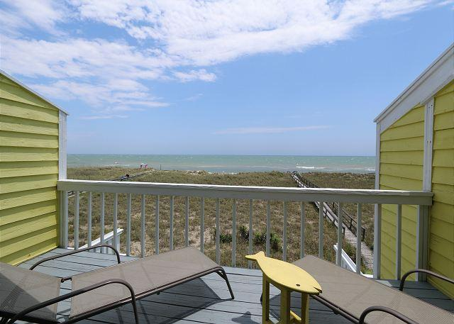 Master Bedroom Deck - Cedars #2 - 3 Bedroom Oceanfront Townhouse, easy beach access, amazing views - Carolina Beach - rentals