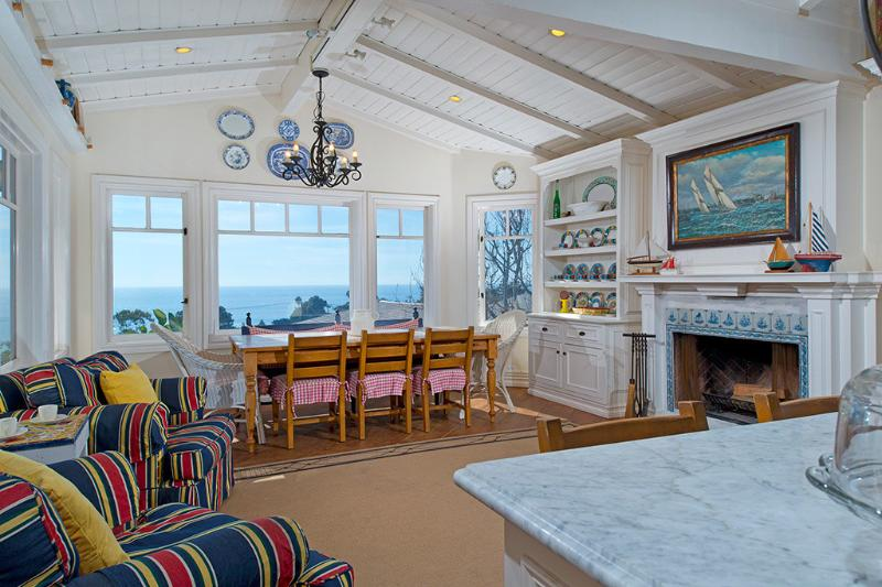 Dining Room Fireplace - Panoramic  Ocean Laguna Beach  Custom Beach House - Laguna Beach - rentals