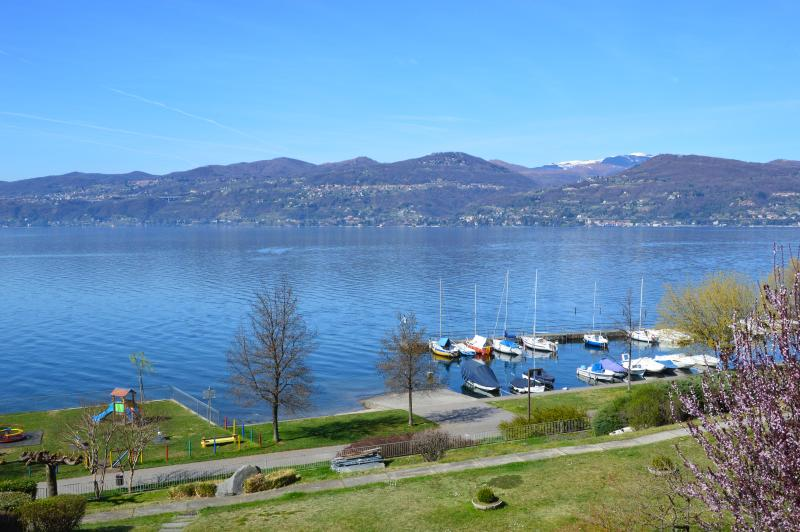 View of Lago Maggiore from the terrace - Lakefront holiday apartment, Ispra, Lago Maggiore - Ispra - rentals