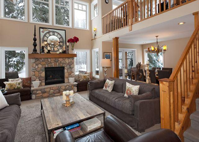 Main Living Area with 18' Ceilings - Fairview Chalet   Family Media Room, Wood-Burning Fireplace, Private Hot Tub - Whistler - rentals