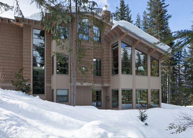 Rear Exterior View of Property in Winter - Luxury Ski-in/Ski-Out, Media Room, Wood-Burning Fireplace, Private Hot Tub - Whistler - rentals
