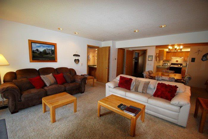 Warm, cozy living space - Snowdance Condominiums B102 - Walk to slopes, updated bathrooms and kitchen, Mountain House! - Keystone - rentals
