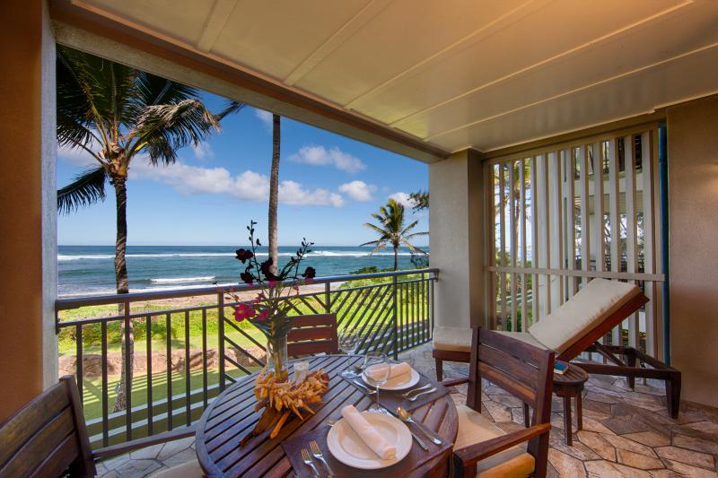 Lanai and view - Villa 217 Second Level Studio with Direct Ocean Views - Kahuku - rentals
