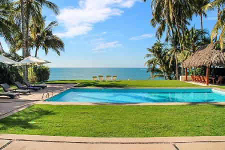 Secluded beachfront haven Villa Patricia with tropical grounds & tranquil pool - Image 1 - Nuevo Vallarta - rentals