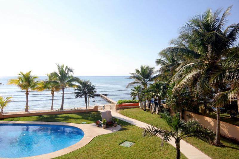 View to beach and ocean - NEW LUXURIOUS 2BR DIRECT BEACHFRONT BBQ $180.00/NIGHT SUMMER!!!! - Puerto Aventuras - rentals
