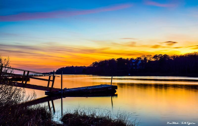 Sunset from the deck - Waterfront   4-bedroom house with 2 tandem kayaks - Falmouth - rentals