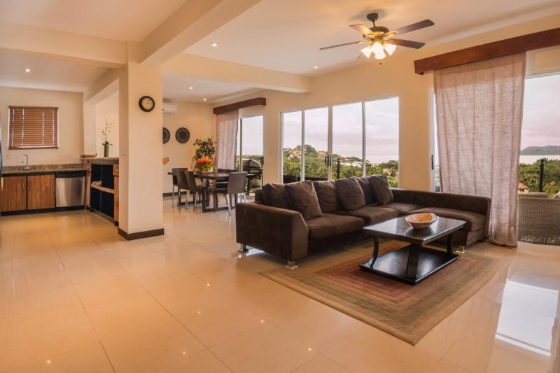 Living and Dining Room Area Opens to Huge Balcony - TripAdvisor Excellent Rating Ocean View Penthouse - Playa Flamingo - rentals
