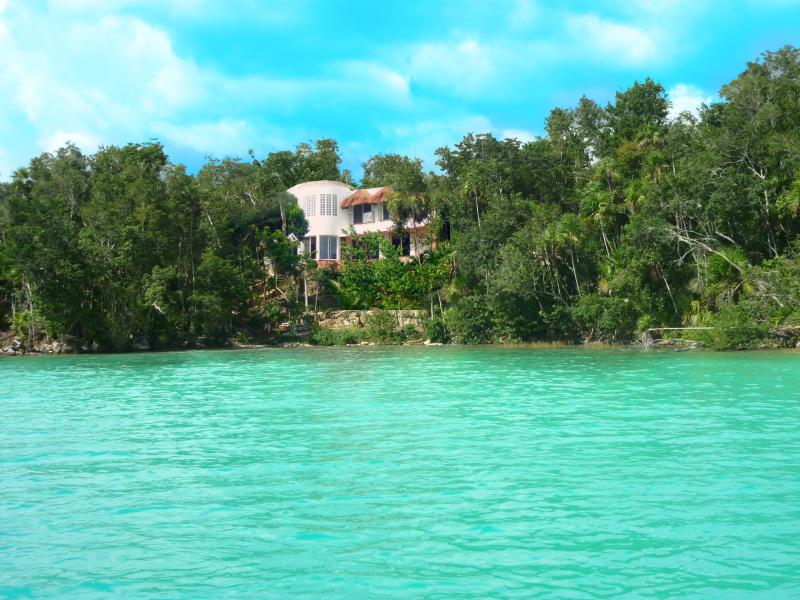View of Maya cala from out on the lake of seven colors -Laguna Bacalar - Maya Cala Lake Front Villa a Jewel in the Jungle o - Bacalar - rentals