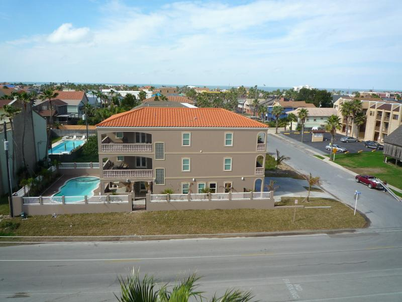 Aerial view of the biggest house on the island. It is a must see and experience for yourself! - COLOSSAL 8 BDRM/10 BA BEACHVIEW VILLA WITH HEATED POOL / JACUZZI/ BILLIARD TABLE - South Padre Island - rentals