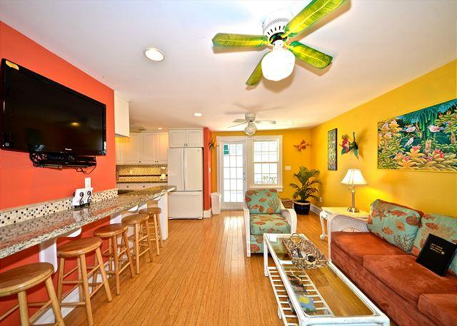 Living area with bar seating and flat screen tV - Almost Southernmost Too- The Perfect KW Rental- Pool & Sundeck-Steps to Duval - Key West - rentals