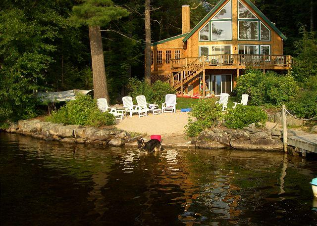 Beach and House View - Listen to the Loons at Dusk on Lake Winnipesaukee  (CIN310Wf) - Moultonborough - rentals