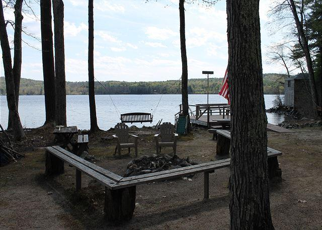 View of Lake area with fire pit - Beautiful Home w/guest house Waukewan (MAN84W) - Meredith - rentals