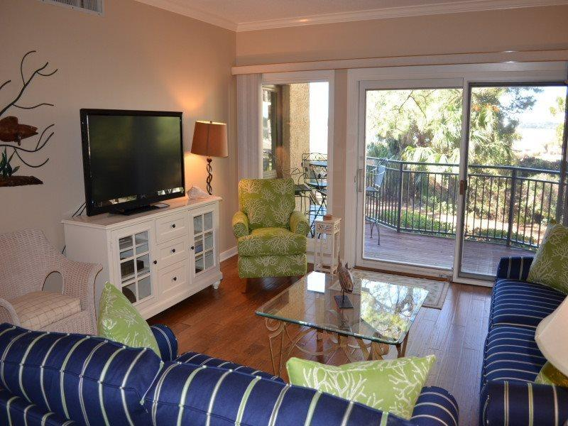 Living Room with Flat Screen at 1887 Beachside Tennis - 1887 Beachside Tennis - Sea Pines - rentals