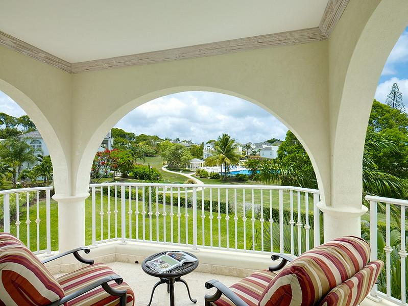 Balcony off the second bedroom, looking towards the swimming pool - 3bed a/c apt Royal Westmoreland, golf, tennis, gym - Barbados - rentals